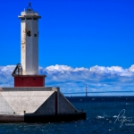 Round Island Passage Light And Mackinac Bridge